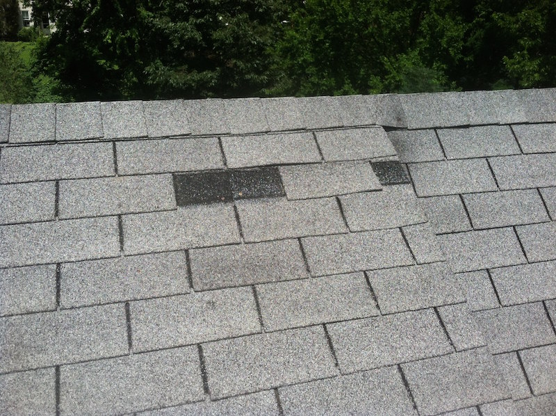 roof with shingles missing